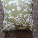 Green and white woodland cushion cover-cotton and velvet zipped cushion cover