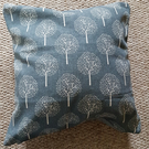 Trees cushion dark grey  white tree design linen and velvet zipped cushion 14""