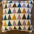 Geometric cushion cover-multicoloured geometric design-mustard velvet back-zip