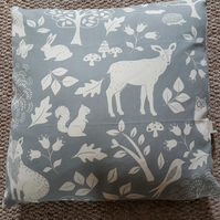 Grey and white cushion cover-woodland animals-deer-squirrels-rabbits-owls-16""