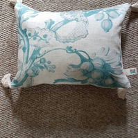 "Blue and white floral cushion cover-linen cushion cover-tasseled cover 17"" x 13"""