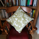 Woodland design cushion cover-green and white cotton front-French linen back