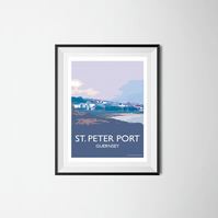 St. Peter Port Guernsey Channel Islands A4 print Travel Poster