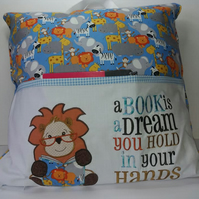 Reading Cushion, Reading Pillow, Book Holder, Zoo Design, Lion cushion,