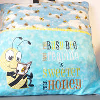 Reading Cushion, Reading Pillow, Book Holder, Bumble Bee Design