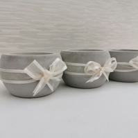 "Set of 3 ""Sophia"" Grey Concrete Candle Holders With Lace Detail."