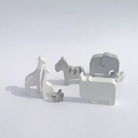 Set of 4 Concrete Safari Zoo Animals Gift Set.