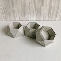 Set of 3 Natural Concrete Hexagonal Trinket Holders
