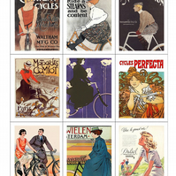 Fabric Panel Vintage Bike Adverts Set of 9 Fabric Panels Altered Art Cards