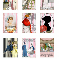 Jane Austen Regency Set of 9 Panels ATC Altered Art Cards Craft Quilting 100% Co