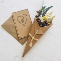 Dried flower mini Bouquet - PHEOBE - with gift card