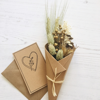 Dried flower mini Bouquet -  RHEA - with gift card