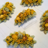 Dried flower hair comb - Large - Yellow Rose, Lona & Phalaris - Wedding
