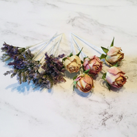 Dried flower hair pins - Limonium & Antique Pink Roses - Wedding