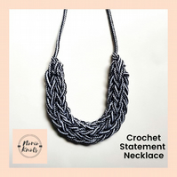 Limited Edition Statement Necklace, Eco-friendly Crochet Cotton Rope Necklace
