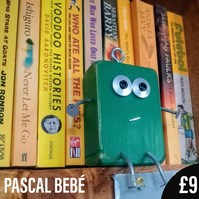 Pascal Bebe - Scraplet, wood robot, wood mascot, desk buddy, office toy