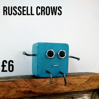 Russell Crows - Scraplet, wood robot, wood mascot, desk buddy, office toy