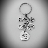 Live Your Dream Keyring With Good Luck Four Leaf Clover Someone Special Charms