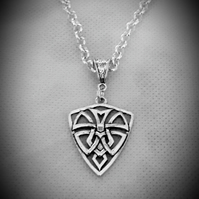 Silver Plated ROLO Belcher Chain Necklace With Large Celtic Shield Pendant