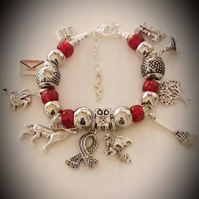 Girls Harry Potter Inspired Snake Chain Charm Bracelet With Gryffindor Red