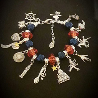 Mary Poppins Inspired Snake Chain Charm Bracelet In Union Jack Red And Blue