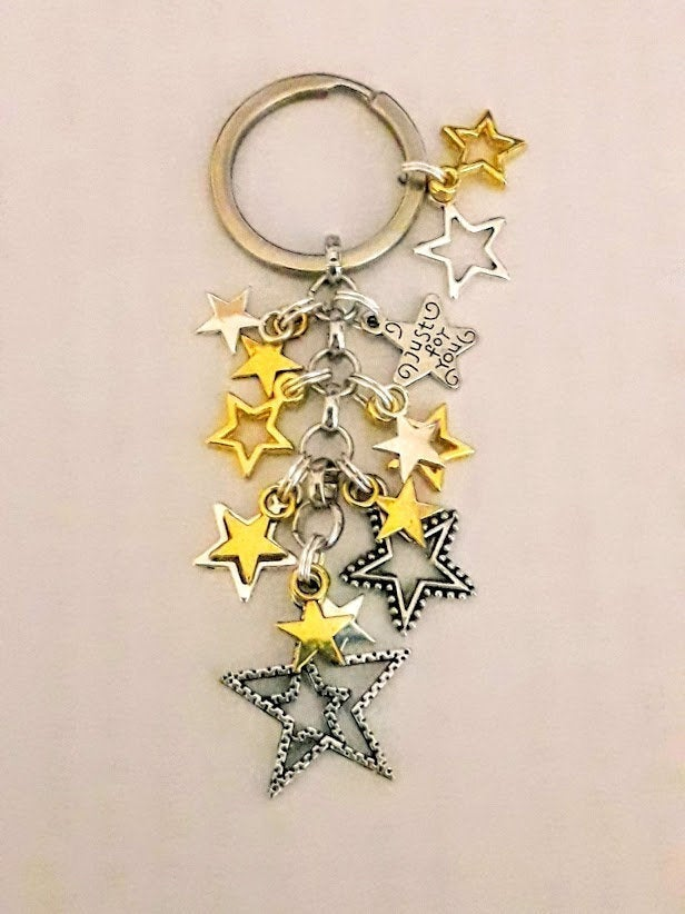 Gold and Silver Star Charm Keyring With Pillow Gift Box