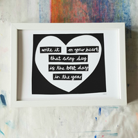 """Write it on your heart"" Emerson quote screen print"