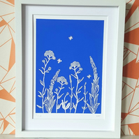 Summer Meadow screenprint with hand painted detail