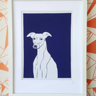 Whippet Screenprint on Fabric