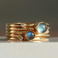 9ct gold Labradorite and Diamond Stacking Rings