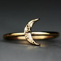 9ct Gold textured Moon ring-gold stacking moon ring-rose gold moon ring