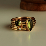 Peridot and Diamond Gold Stacking Rings