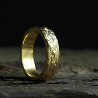 Gold Textured ring band, 9ct gold wide wedding ring, 6.5 mm wedding ring band