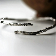 Sterling silver textured twig bangle