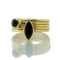 Onyx and Diamond Flower Seed Gold Stacking Ring