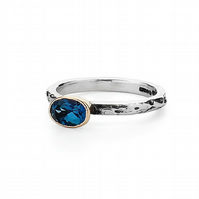 Oval London Blue Topaz silver and gold Treasure Ring