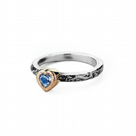 Moonstone Heart silver and gold Treasure Ring