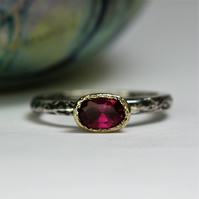 Oval Pink Tourmaline Silver and Gold Treasure Ring