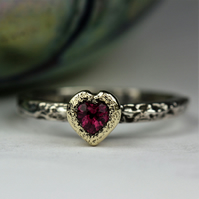 Pink Tourmaline silver and gold Heart Treasure ring