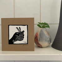 Lavender in Hand Hand Printed Linocut on Recycled Brown Card Greetings Card