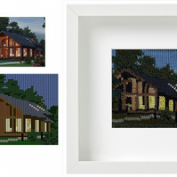 PERSONALISED House Framed Knitted Art - Custom Wall Art - Place Illustration