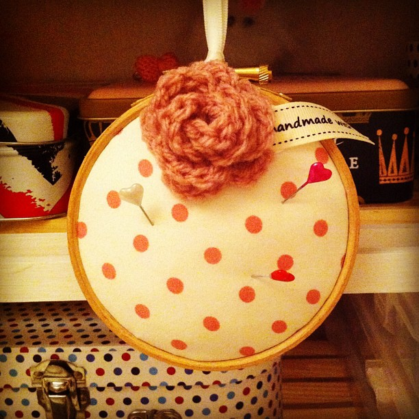 Pale pink spot embroidery hoop pin cushion