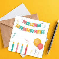 Birthday card: Candles and balloons