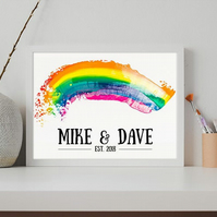 Anniversary or wedding personalised print (rainbow edition)