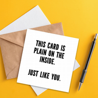 Greetings card: Plain on the inside