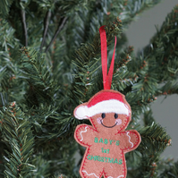 baby's first Christmas hanging gingerbread ornament