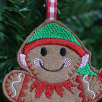 machine embroidered gingerbread elf hanging christmas tree ornament