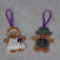 embroidered gingerbread bride and groom, hanging wedding memento