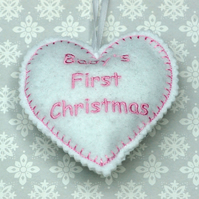 Embroidered baby's first Christmas felt hanging heart