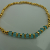 Ocean Blue Apatite and Gold Vermeil Stretch Bracelet with Shocking Pink Gift Wra